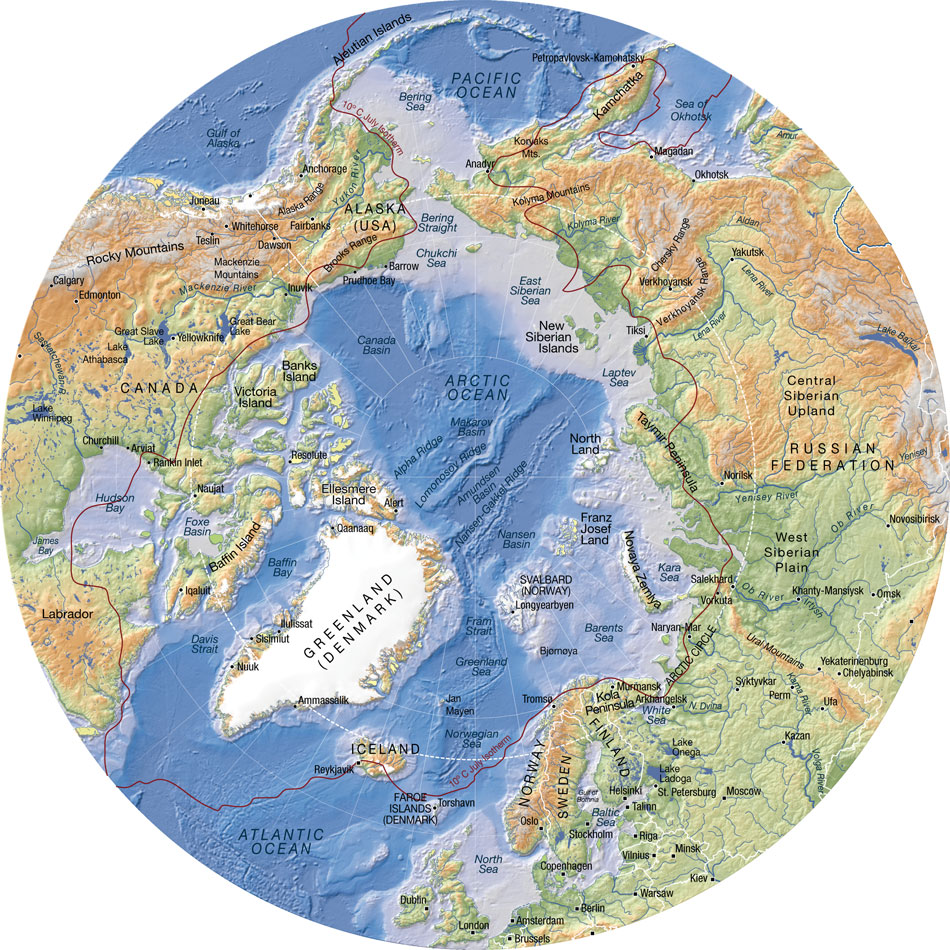 Arctic topographic map with bathymetry