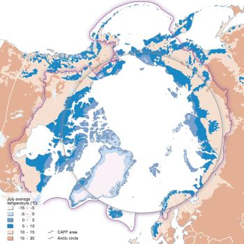 The Arctic, as defined by July average temperature (10 deg isotherm)