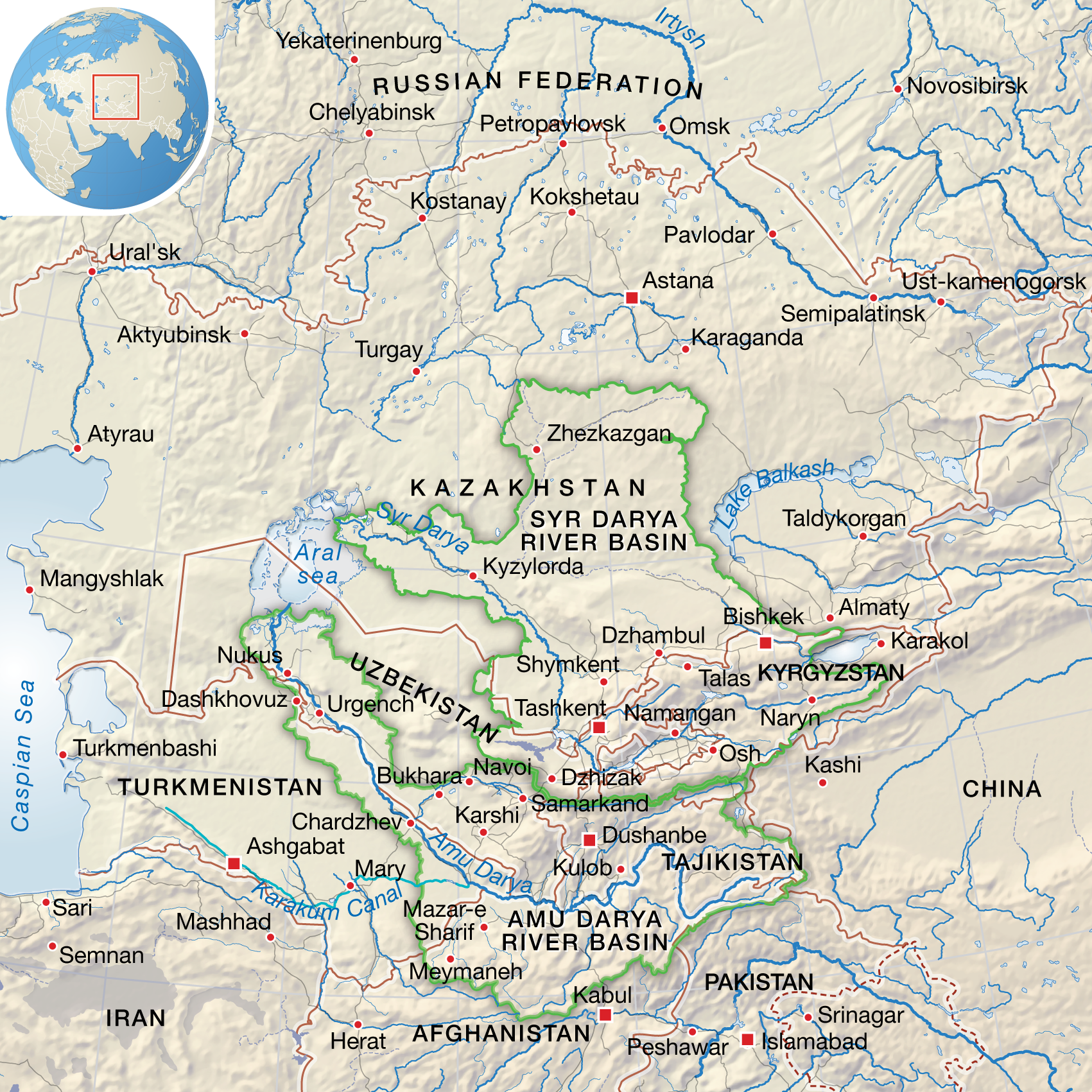 Map Of Asia Rivers And Seas.Central Asia Aral Sea And Surrounding Area