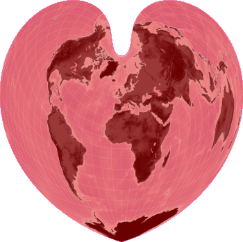 World map in the shape of a heart, by Nordpil