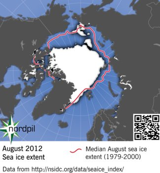 Arctic sea ice extent, August 2012