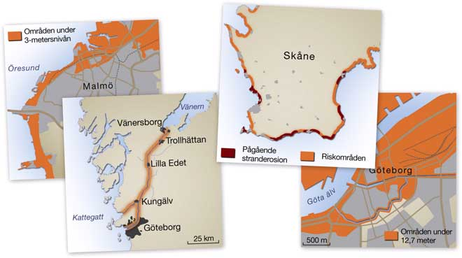 Maps over climate change vulnerability issues in Sweden