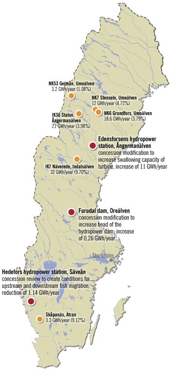 Hydropower in Sweden 1990-2012, case study map