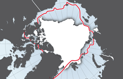 Arctic minimum sea ice extent, 1982 and 2008