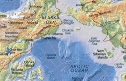 Arctic topographic map, with bathymetry
