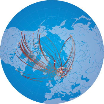 University of the Arctic student exchanges map, North2North programme