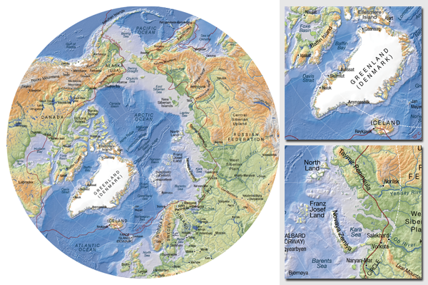 Arctic topographic map, base map with bathymetry