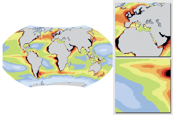 World map of ocean productivity
