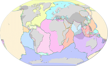 Example map showing tectonic plates, orogens and plate boundaries